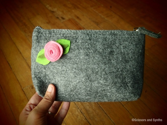 Felt flower pouch in Scissors and Synths