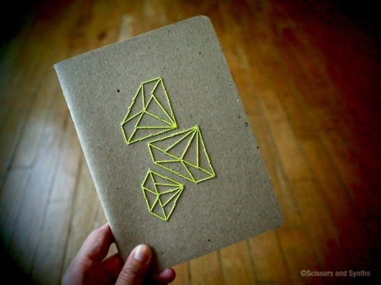 Embroidered Notebooks in Scissors and Synths