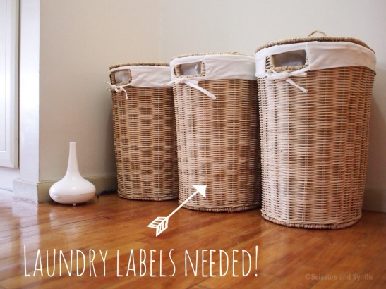 Easy Laundry Basket Labels on Scissors and Synths